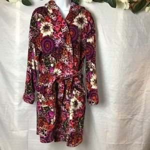 Vera Bradley Hooded Fleece Rosewood Robe